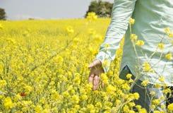 Человек идет в поле Стоковое Фото