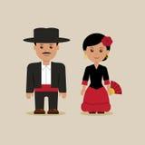 Человек и женщина в испанских костюмах Стоковые Фотографии RF