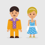 Человек и женщина в ретро платье стиля Стоковые Изображения