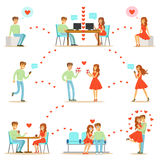 Человек и женщина находя влюбленность и датируя используя вебсайты датировка и App на Smartphones и компьютерах Infographic Стоковые Фото