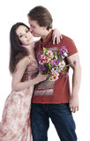 Человек и женщина на белой предпосылке Стоковые Фотографии RF