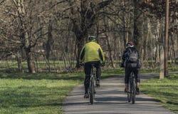 Человек и женщина на велосипедах в солнечном весеннем дне стоковое фото rf