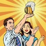 Человек и женщина паба бара фестиваля пива триумфа бесплатная иллюстрация