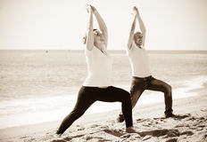 Человек и женщина работая совместно на пляже Стоковые Изображения