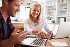 Человек и женщина работая совместно дома Стоковая Фотография