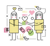 Человек и женщина с подарочной коробкой Стоковое фото RF