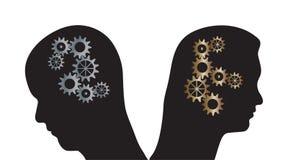 Человек и женщина vector силуэты с cogs в головах Стоковые Изображения RF