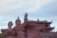 Человек и женщины в городке Songpan, Китае Стоковая Фотография