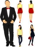 Человек и женщины над белой предпосылкой Стоковые Фотографии RF