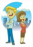 Человек и женщины пересекая руку Стоковое Изображение
