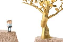 Человек и золотое дерево с обеих сторон скалы illustrati 3d Стоковое Изображение RF