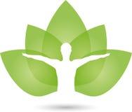 Человек и листья, naturopath и логотип фитнеса