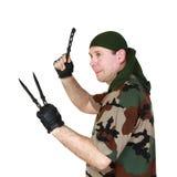 Человек и ножи стоковые фотографии rf