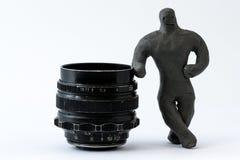 Человек и объектив Стоковое фото RF