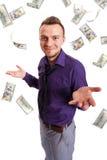 Человек и дождь бумажных денег Стоковая Фотография RF