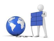 Человек и панель солнечных батарей Стоковое Фото