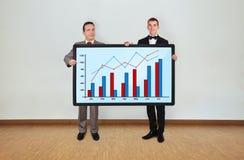 Человек 2 и плазма с диаграммой Стоковая Фотография
