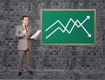 Человек и рост план-графика Стоковое фото RF