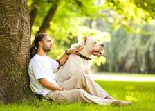 Человек и собака Стоковая Фотография