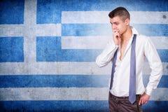 Человек и флаг Греции grunge Стоковая Фотография