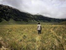 Человек идя вокруг в холм Savana Стоковые Изображения