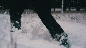 Человек идя в глубокий снег в лесе зимы на дне Snowy движение медленное акции видеоматериалы