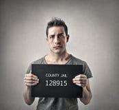 Человек идя заключить в тюрьму Стоковое Изображение RF