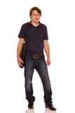Человек идя работать с сумкой Стоковые Фото