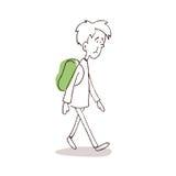 Человек идя с рюкзаком иллюстрация штока