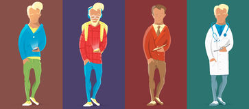 Человек идя с handie или мобильным телефоном Менеджер, битник, доктор, непринужденный стиль Стоковое фото RF