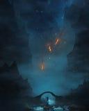 Человек идя через темноту Стоковые Изображения RF