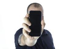 Человек и smartphone стоковые фотографии rf