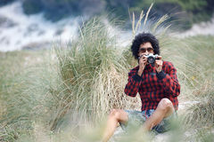 Человек камеры битника стоковое фото
