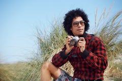 Человек камеры битника стоковое фото rf
