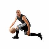 Человек капает на белой предпосылке с шариком баскетбола Стоковая Фотография RF