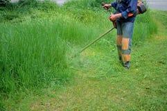 Человек косит траву Стоковые Фотографии RF
