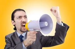 Человек крича и выкрикивая Стоковые Изображения RF