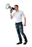 Человек крича через мегафон Стоковая Фотография RF