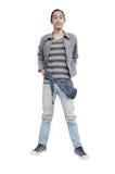 Человек моды джинсовой ткани на белой предпосылке Стоковые Изображения RF