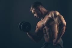 Человек мышцы делая скручиваемости бицепса Стоковое Изображение RF