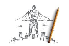 Человек нарисованный рукой супер над большим городом Стоковые Изображения RF