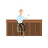 Человек на баре Стиль квартиры и шаржа Иллюстрация вектора на белой предпосылке Стоковое фото RF