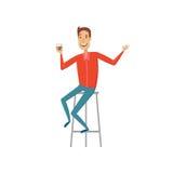 Человек на баре Стиль квартиры и шаржа Иллюстрация вектора на белой предпосылке Стоковые Изображения RF