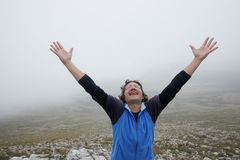 Человек на горе Стоковое фото RF