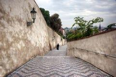 Человек на лестницах Стоковое фото RF