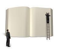 Человек на книге с другой наблюдать, отверстия сочинительства лестницы re 3D бесплатная иллюстрация