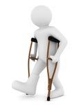 Человек на костылях на белой предпосылке Стоковое Фото
