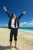 Человек на красивом пляже Стоковое Изображение