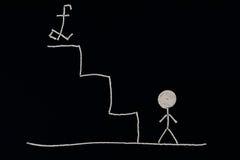 Человек на дне лестниц готовых для того чтобы преуспеть, необыкновенная концепция Стоковые Фотографии RF