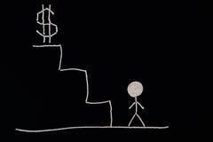Человек на дне лестниц готовых для того чтобы преуспеть, необыкновенная концепция Стоковое Изображение RF
